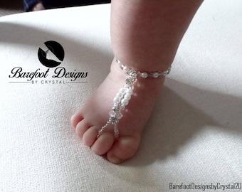 Flower Girl Pearls and Diamond Rhinestone Children's Barefoot Sandal, Beach Wedding Flower Girl Barefoot Sandal, Christening Barefoot Sandal