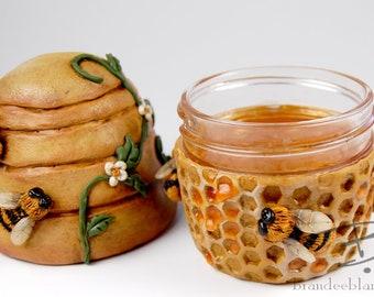 Honey Bees Stash Jar - ready to ship  - air tight, water proof - 4 oz.