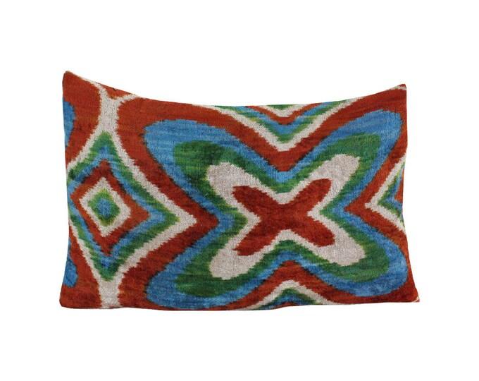 Silk Velvet Ikat Pillow Cover Lp499, Bohemian pillow, Velvet Ikat Pillow, Velvet Pillow, Velvet Pillow Cover, Ikat Pillows, Throw Pillows