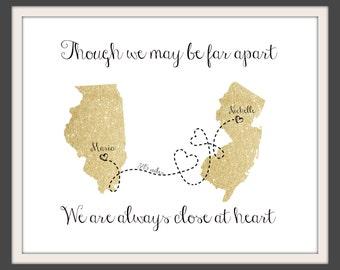 Glitter Gold Long Distance Map    Long Distance Relationship Boyfriend   Golden Long Distance Map   Office Decor   Gift For Mom - 50377B