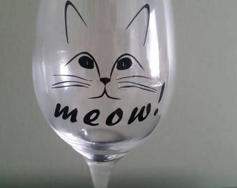 Cat lovers wine glass