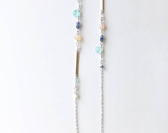 Long Silver Necklace, Long Necklace Gemstone, Silver and Gemstone Necklace, Long Layering Necklace, Colorful Necklace, Hammered Bar Necklace