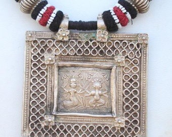Ethnic Tribal Old Silver Necklace Pendant Bellydance India