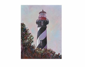 "ORIGINAL OIL PAINTING 24""x18"" St. Augustine Lighthouse Art"
