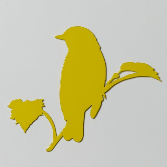 Bird 6 Branch with Leaves Silhouette Metal Wall Art Single