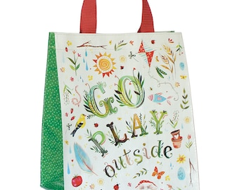 Go Play Outside Reusable Tote Bag | Small Grocery Bag