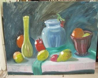 Fruits & Vases Still Life Painting Oil on Canvas Vase Orange Apple Pear Fruit - vintage original art