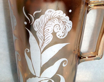 Vintage Marigold Iridescent Pitcher with White Feather Plume