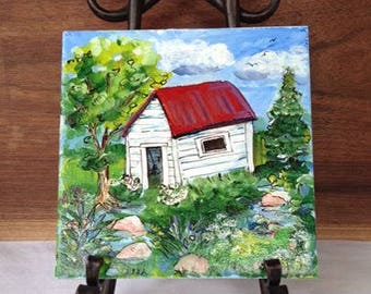 Original 6 x 6 Small Painting on Tile: Old Shed