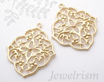 PD526-MG // Gold Plated Gothic Floral Pendant, Matt, 2 Pc