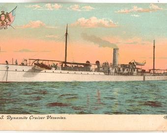 Linen Postcard, U.S. Dynamite Cruiser Vesuvius, Military Ship, ca 1910