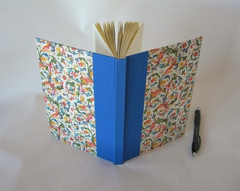 Address book large - royal blue and Florentine - 6x8.5in 15x22cm -  Ready to ship