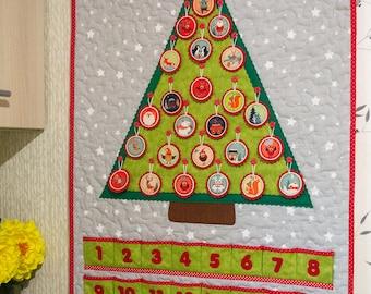 Advent calendar Kids Christmas gift Xmas ornaments Christmas tree Xmas decoration Green Fairytale gift Advent ornaments Felt advent calendar