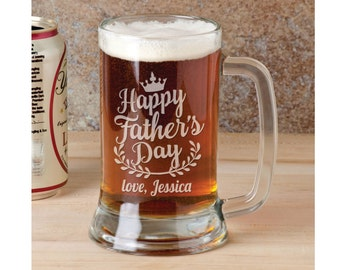 Happy Father's Day Personalized Beer Mug with Name Father Day Gifts for Daddy Granddaddy Pops Best Father Custom Engraved Stein for New Dad