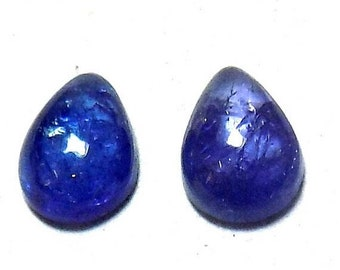 40% Sale -- Tanzanite , 7 x 9 mm Size, Cabochon Stone, Pear Shape, 2 pcs.