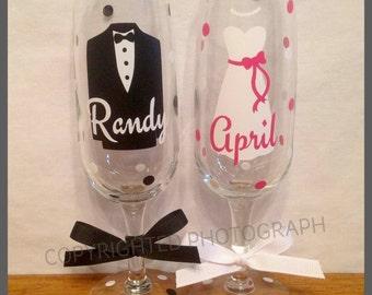 Personalized WEDDING CHAMPAGNE FLUTES for Groom Bride Groomsmen Bridesmaids Wedding Date Tuxedo Dress