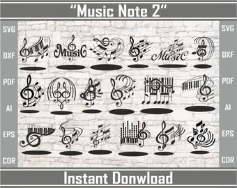 Musical Notes Svg #2. Clip Art Music, Dxf File, Vector for Cut or Laser engravings. Musical notes silhouette. Vector Music Svg