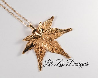 Gold Plated Japanese Maple Leaf Necklace With Gold Plated Chain Fall Accessories