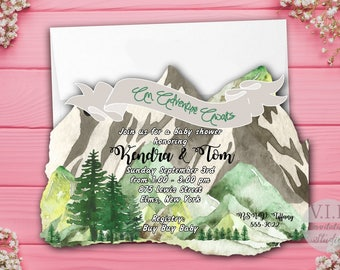 Adventure Baby Shower Invitations, Mountain Shower Invitation, Tree Shower, Adventure Begins, Awaits, Outdoor, Baby, Outdoor, Mountains