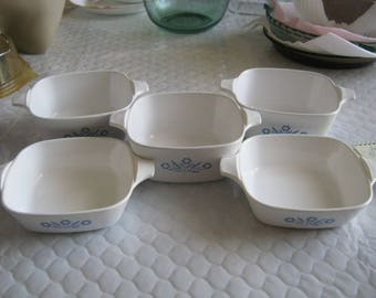 Cornflower Blue by Corning 5 Square Petite Handled Baking Dishes 2 3/4 Cups