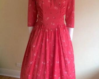 Original Vintage 50s Dress XL , Full Skirt, Atomic Print , Pinup,Rockabilly ,Long Sleeves Day dress