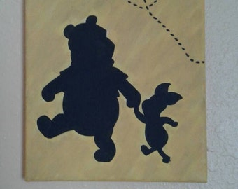 8x10 Hand Painted Winnie the Pooh and Piglet Holding Hands Silhouette on Canvas