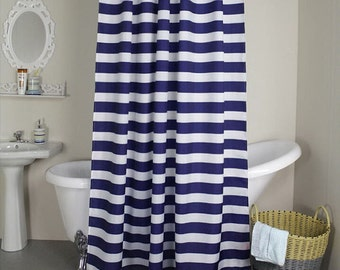 "Navy blue and white horizontal stripe Fabric shower curtain, cotton print, 72"", 84"", 90"", 96"", 108"" custom made"
