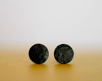 New Moons - Flat Black - Sterling Silver - Stud Earrings - Moon Phase - Phases of the Moon - Black Silver - Simple Studs - Unisex - Moon -