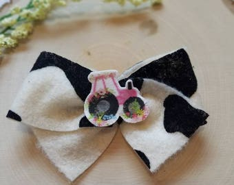 Cow print tied hairbow with floral tractor center, cow hairbow, tractor bow, classic tied hair bows, felt tied hair bow, hair bow,  felt bow