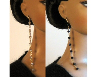 "Swarovski Crystal Duster Earrings Set ""Crystal Silver/Jet Glacier"" Jewelry for Tonner JamieS Ellowyne & More!"