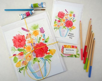 Mothers Day gift set -  Matching Art Gift for Mom -  Bouquet art - Floral Wall art - Watercolor wall art - Home decor - Pretty gift