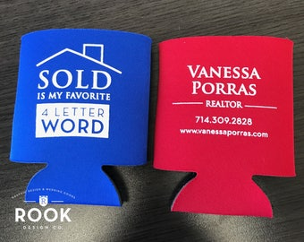 Realtor promotional can cooler, real estate drink holder, real estate promotional item, Realtor SOLD can coosy, real estate advertising -100