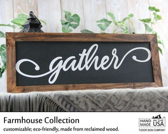 Gather Wood Sign Thanksgiving Sign Rustic Decor Farmhouse Fall Decor November Decor Dining Room Sign Fixer Upper Joanna Gaines Sign Magnolia