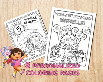 Sale! Dora the Explorer 8 Party Coloring Pages / Personalized / Printable /Birthday Activity  / Digital / PDF