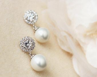 Pearl Bridal Earrings Pearl Wedding Earrings Crystal Halo Earrings Drop Pearl Earrings Wedding Jewelry Bridesmaid Gift Pearl Bridal Jewelry