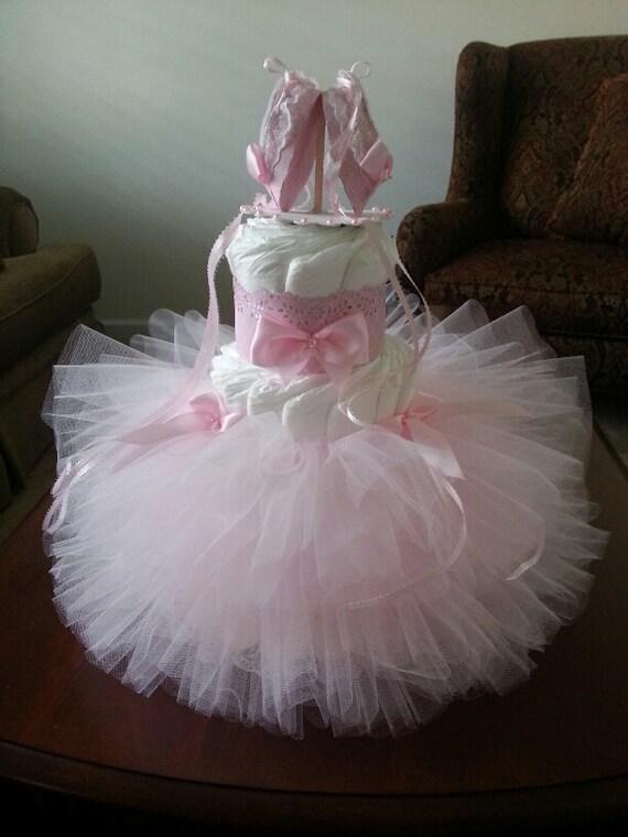 Three Tier Pink Tutu Diaper Cake Ballerina Baby Shower