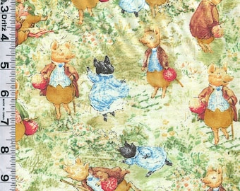 Fabric Quilting Treasures The Tale of Pigling Bland  Beatrix Potter  Characters SCENES Rare By the Yard