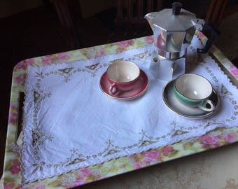 Vintage Tray Cloth, Afternoon Tea, Cut Work, Scalloped Edge, Vintage Linens, VTR68