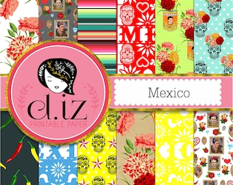 Mexican Digital Paper featuring fiesta style Cinco de mayo, frida kahlo, day of the dead, papel picado, 12 digital papers