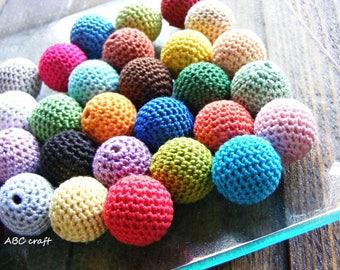 Crochet wooden bead mix 30 pcs, 20 mm (3/4 inch), wooden round beads, rainbow, multicolor, handmade craft supplies, beech wood, handmade