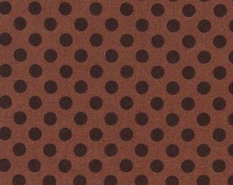 Brown Mocha Polka Dot Cotton Fabric -  Spot On by Robert Kaufman Fabrics - Perfect for Nursery, Clothing, and Quilts
