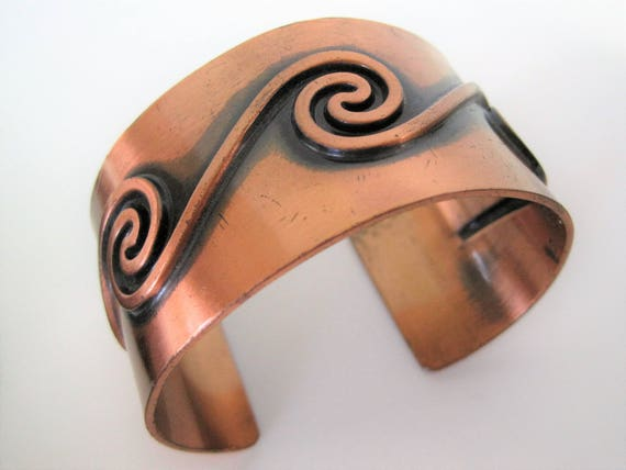 Solid Copper Cuff, Signed Bell Trading Post, Modernist Wide Bracelet