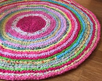 READY TO SHIP! Round Nursery Rug Recycled T Shirt Yarn Fabric Yarn 4.5 feet
