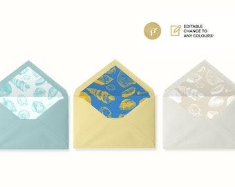 DIY Envelope Liner round flap | Printable PDF | | seashells beach wedding