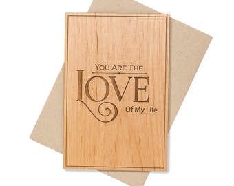 Romantic Valentines Day Gift for Him. 5th Year Anniversary. Fifth Anniversary Gift Wood Card Gift for Her.