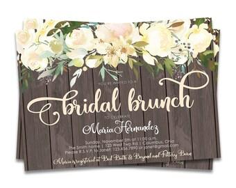 Rustic Floral Bridal Brunch Invite, Bridal Brunch Invitations, Rustic Bridal Brunch Invitation, DIY Bridal Brunch Invitation, Rustic Wedding