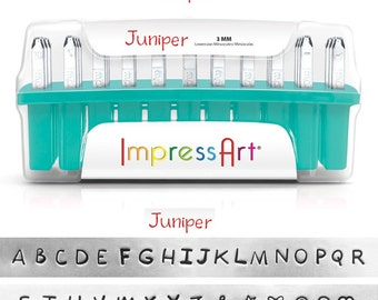 "JUNIPER - UPPERcase Handwriting font - Steel Letter Stamps - 1/8"" (3MM) size - includes 7 additional stamps and instructional tutorial"