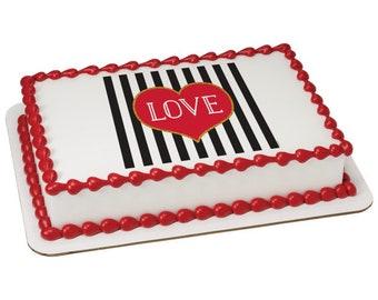 Love Stripes Edible Cake Topper