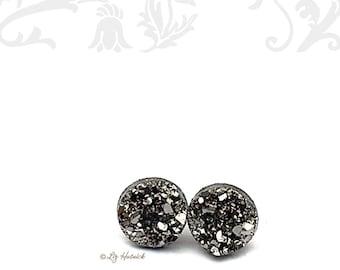 Gunmetal Gray Faux Druzy Earrings, 10mm Druzy Stud Earrings, Resin Druzy Jewelry - on Titanium, Stainless Steel, and Sterling Silver Posts