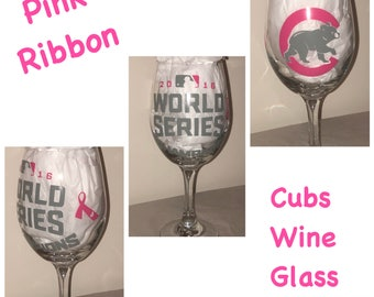 Pink Ribbon Cubs World Series Wine Glass